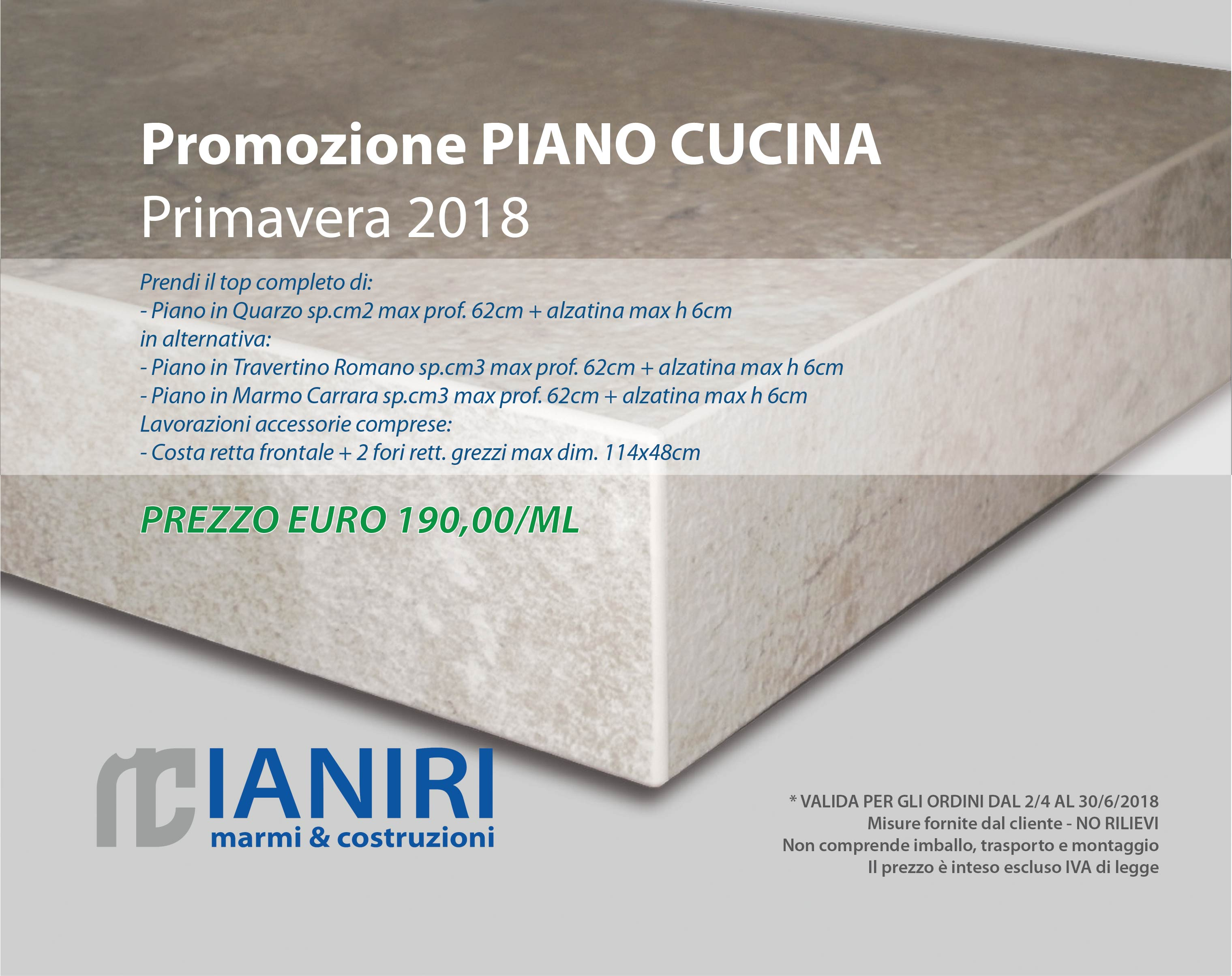 Piano Cucina In Marmo Travertino.Promozione Piano Cucina Primavera 2018 Ianiri Marmi Costruzioni
